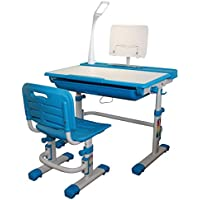 Height Adjustable Kids Desk Chair with LED Lamp Steel Bookstand Seat Pad Ergonomic Children Table and Chair - Sprite with Lamp (Blue)