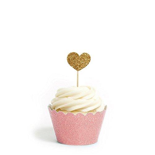 Herzen Cupcake Topper Farbe Gold 12Pack Dekoration Kuchen Graduation Baby Dusche San Valentine