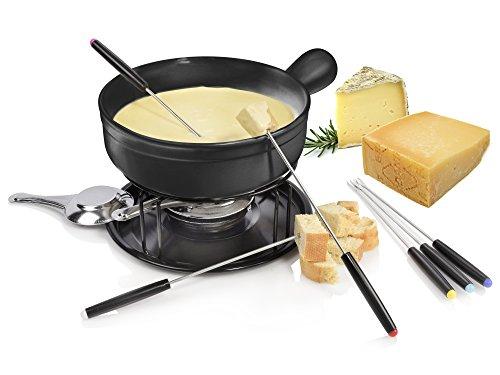 Bluespoon Käsefondue Set aus Keramik | Beinhaltet Caquelon, Rechaud, Brenner und Fonduegabeln | Gesellschaftlicher Käsegenuss mit Freunden und Familie