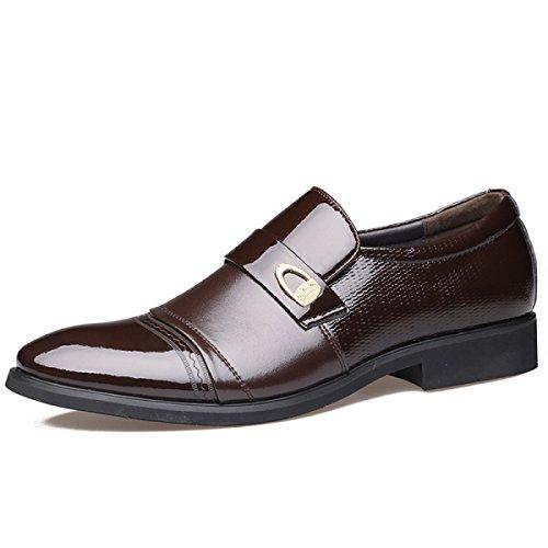 GRRONG Chaussures En Cuir Pour Hommes D'affaires Tenue Pointu Noir Brown brown
