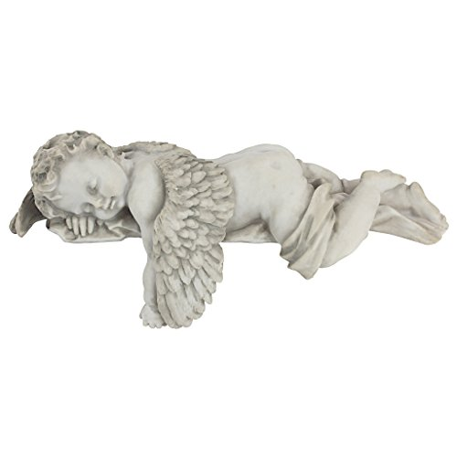 Design toscano tempo di fare la nanna, piccolo angelo dormiente  statua mensola, poliresina, pietra antica, 30 cm
