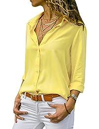 laamei Chemisier Femme Manches Longues Tunique Col V Mousseline Top Blouse  Mode Couleur Unie 11e9c523e78b