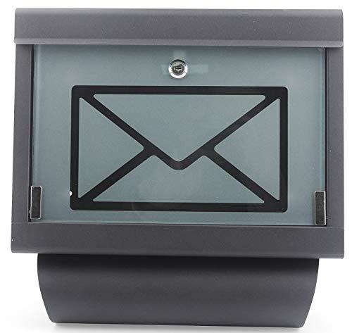 Briefkasten Letter Box Edelstahl inkl. Zeitungshalter Zeitungsrolle Post Sichtfenster Wandbriefkasten schwarz Neu