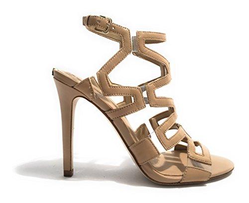 Guess Sandalo Donna Padton Gabbia Tacco Cm 11 Sue Beige Nero