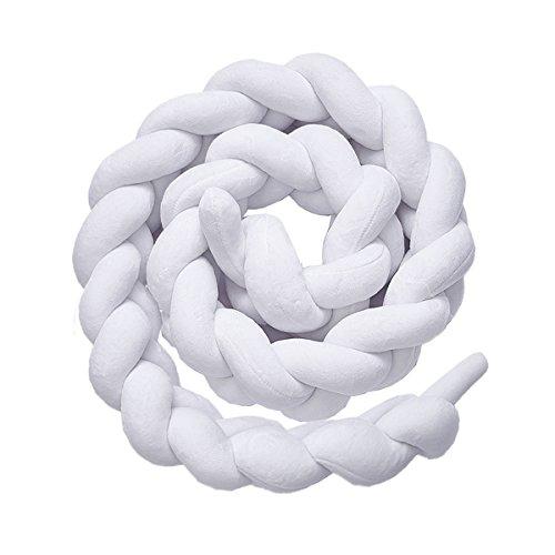 Luchild Bettumrandung Babybett Länge 2m Baby Nestchen Bettumrandung Weben Geflochtene Stoßfänger Dekoration für Krippe Kinderbett (Weiß)