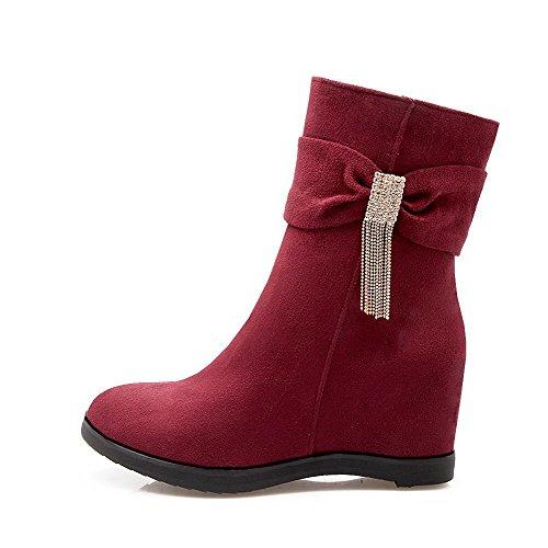 AllhqFashion Damen Beschlagene Strass Reißverschluss Hoher Absatz Stiefel, Rot, 41
