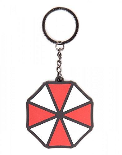 Preisvergleich Produktbild Resident Evil Unisex Schlüsselanhänger Umbrella Logo Rot Weiß 100% Kautschuk - Fan Anhänger Umbrella Logo