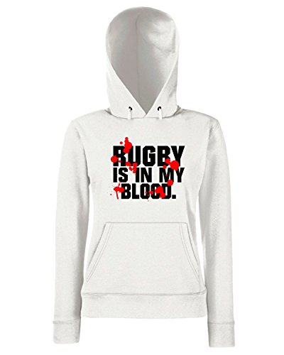 T-Shirtshock - Sweats a capuche Femme T1025 rugby is in my blood sport Blanc