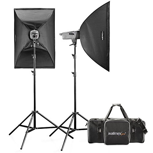 Walimex Pro VE Excellence 3.3 Studioset (inkl. Blitz 300Ws, Stative, Softboxen und Auslöser, Studiotasche und Reflektor)