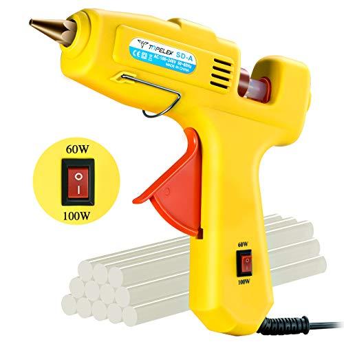 Hot Glue Gun, TOPELEK 60/100W Dual Power High Temp Heavy Duty Melt Glue Gun  Kit with 12 Pcs Premium Glue Sticks, Best for DIY Crafts & Arts and Quick