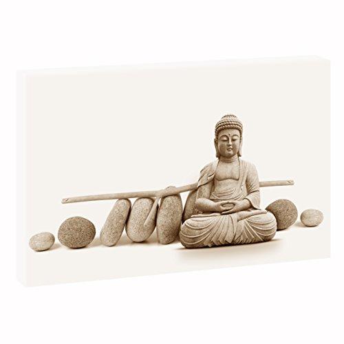 Yoga   V1710103   Bilder auf Leinwand   Wandbild im XXL Format   Kunstdruck in 120 cm x 80 cm   Bild Buddha Meditation Zen Buddhismus (Sepia)