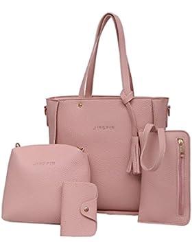LHWY Mode Frauen Geschenk Set Handtasche Schulter Geldbörsen Taschen Kartenhalter Pu Leder Tasche Bag Brieftasche...
