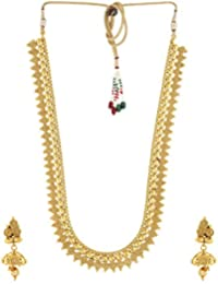 Anuradha Art Gold Finish Royal Looking South-Indian Styled Designer Traditional Long Necklace Set For Women/Girls
