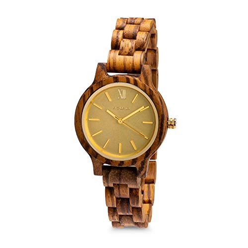 AQUADI' Damen Analog Quarz Uhr aus Holz - Aegesta Zebra & Aurum   Minimalistisch im klassischen Stil, ökologisch
