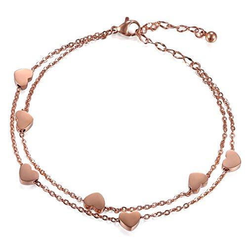 kettchen Herzen Armkette in Farben Silber Fußkette Fusskette, Doppelt Kette Armband für Frauen Mädchen, 23cm ()