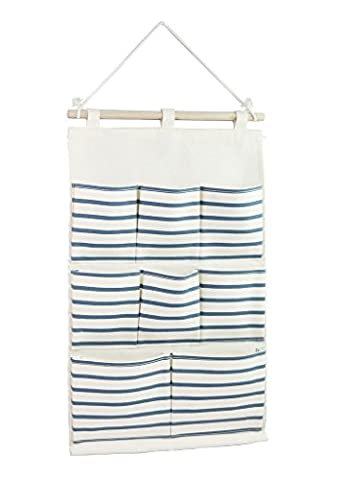 Tandi Linen/Cotton Fabric Wall Door Closet Hanging Storage Bag Case 8 Pockets Home Organizer Blue Strips by