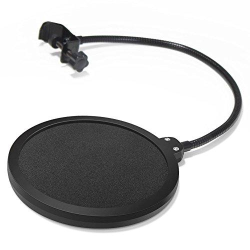 InnoGear 6 Zoll Mikrofon Popschutz Studio Mikrofon Absorber-Filter Mic Schirm Runde Form Wind Pop Filter Maske Schild mit Stand Clip (schwarzer Filter) -