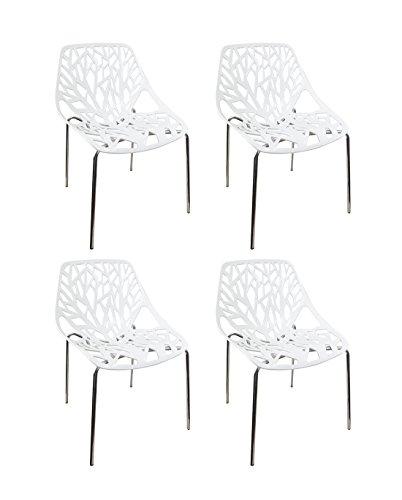 Meubletmoi Lot de 4 chaises Blanches - Design Graphique et Pieds métal chromé - Confortable et Robuste - Nova