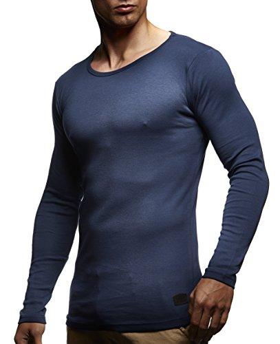 LEIF NELSON, Girocollo da Uomo, a Maniche Lunghe, 100% cotone Dunkel Blau