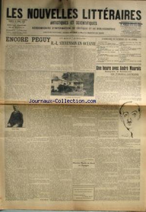 NOUVELLES LITTERAIRES (LES) [No 184] du 24/04/1926 - ENCORE PEGUY PAR PIERRE MILLE - R.-L. STEVENSON EN OCEANIE PAR JEAN DORSENNE - UNE HEURE AVEC ANDRE MAUROIS PAR FREDERIC LEFEVRE - MAURICE MARTIN DU GARD EN ESPAGNE.