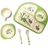 EZ Life 5 Pcs Kids Rectangle Dining Set - Dinosaur - Eco Friendly Bamboo Fibre - Multicolor
