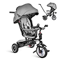 besrey Tricycle Kids Trike, Baby Tricycle Buggy Stroller Kids Trike Push Chair 7 in 1, Reversible Seat with Pedal for 6 Months to 6 Years
