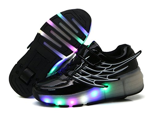 Fortuning's JDS Adulte Unisexe Simple roue LED clignotant poulie chaussures Aile coiffer PU Lumineux Sneakers Noir