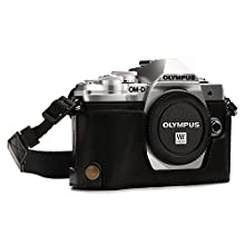 MegaGear MG1350 Ever Ready Leather Half Case and Strap with Battery Access for Olympus OM-D E-M10 Mark III Camera - Black