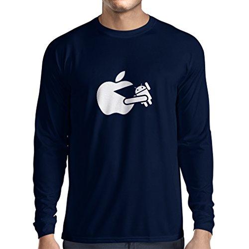 N4212L T-Shirt mit langen Ärmeln Lustige Apfel isst einen Roboter Unisex T-Shirt Blau Weiß