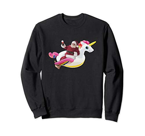 Summer Santa Smoothie & Unicorn Float Funny Christmas Shirt Sweatshirt -