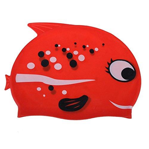 SODIAL(R) Lieblich Cartoon Silikon Kinder-Badekappe Wasserdicht Fisch-Form Stil Rot