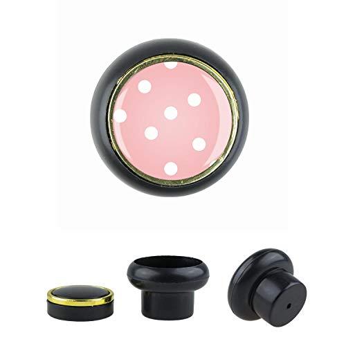 KST06423S Pomo para muebles pequeño y elegante, de plástico, diseño de lunares, negro, pequeño y universal, para armario, cajón, cómoda, puerta, cocina, baño, hogar, habitación infantil