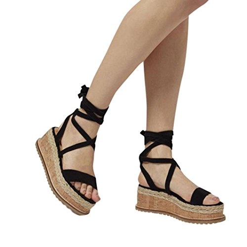 Uomogo® vintage sandali estivi scarpe con sandali donna, ragazze infradito scarpe basse aperte sandali da donna (cn:35, nero)