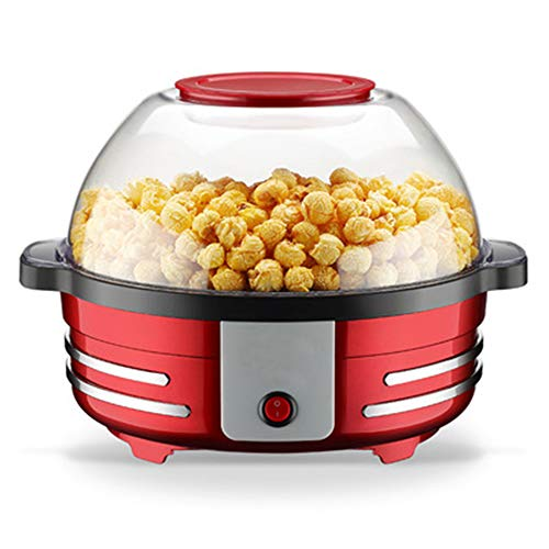 ZXX Elektrische Heißöl-Popcorn-Popper-Maschine mit Rührstab, großer Deckel zum Servieren der Schüssel und praktischer Aufbewahrung, für Familien geeignet, rot