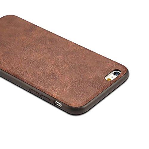 EKINHUI Case Cover Ultra dünner und leichter Retro mattierter lederner rückseitiger Abdeckungs-Fall für iPhone 6 Plus u. 6s Plus ( Color : Black ) Black