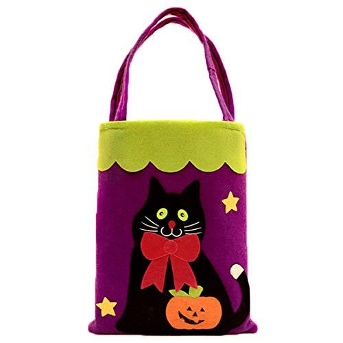 oween Süßigkeitstasche Kinder Cartoon Tote Kürbis Tasche Halloween Kostüme Geschenktüte (Katze) ()
