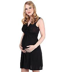 9354-BLK-14: Schwangerschaftskleid Wickelkleid mit Raffung Knoten Schleife (Schwarz, Gr.42)