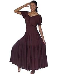 LOTUSTRADERS Damen Boho Kurz Arm Kleid