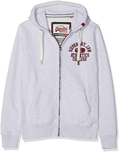 Superdry Herren Core Applique Ziphood Kapuzenpullover, Grau (Vintage Silver Marl), Small Applique Zip Sweatshirt