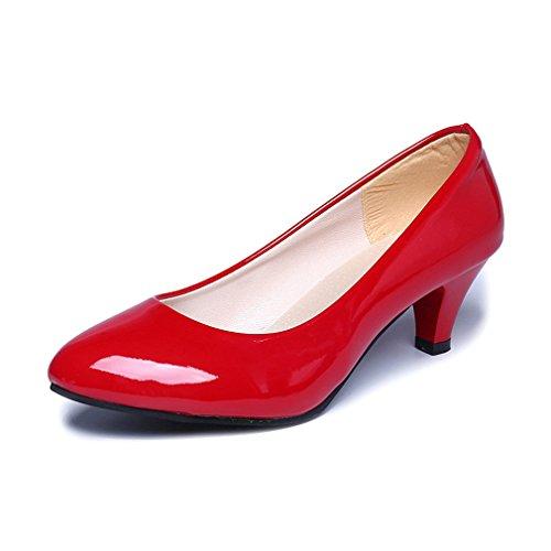 LnLyin Damen Kitten Heel Schuhe OL Schuhe Pumps Nubuk Flach Mund Arbeit Schuhe Füße Schuhe für Damen Frauen Mädchen Rot 39