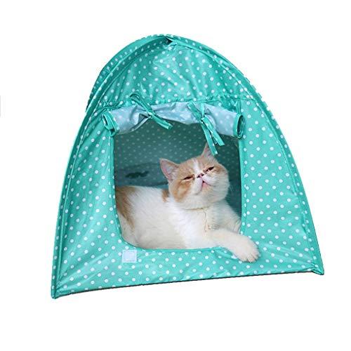 Timlatte Polyester Kitty Haustiere Campingzelt Haus Klappbett Wasser Resistent Durable Nette Tupfen-Höhle Blau 43x43x41cm