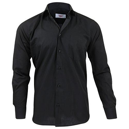 Captain Classic Fit Herren Hemden (in 24 Verschiedenen Farben) Langarm-Hemd 100% Baumwolle (L, Schwarz)