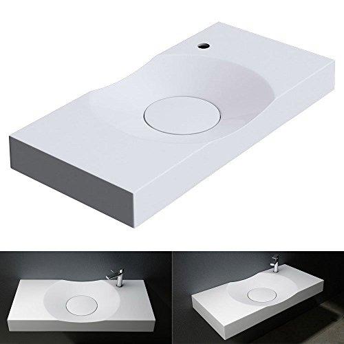BTH: 100x48x10 cm Design Waschbecken Colossum15-R, in reinweis, aus Gussmarmor, als Aufsatzwaschbecken und Hängewaschbecken geeingnet
