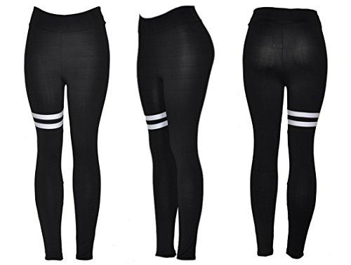 QIYUN.Z Leggings Noirs Femmes Collants D'Entraînement Sportifs Pantalons De Sport Bande De Jogger Fitness Yoga Noir