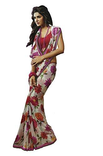 Mansi Sarees Georgette Saree (Sah5635_White & Red)