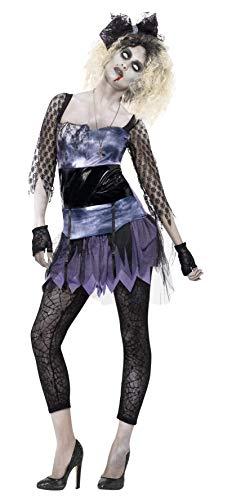 Zombie Kid Kostüm - Smiffys, Damen Zombie 80er Wild Child Kostüm, Kleid, Oberteil, Leggings, Schleifen-Stirnband und Handschuhe, Größe: S, 44367