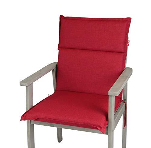 Herlag Clara Polsterauflage Niedriglehner für Gartenmöbel (Farbe rot, Füllung 100% PU Schaumstoff),