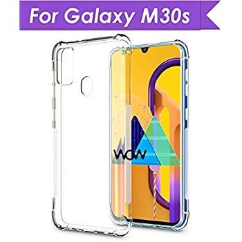 WOW Imagine Samsung Galaxy M30s Shockproof Back Cover Case | Flexible Protective Cushioned Edges Crystal Clear TPU Bumper Corners Back Case Cover for Samsung Galaxy M30s - Transparent