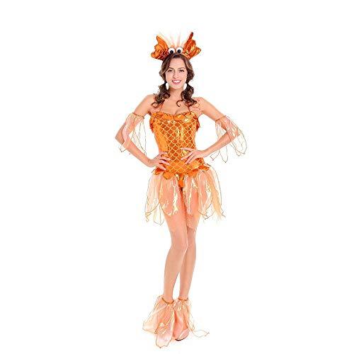LVLUOYE Kostümbildner, Goldenes Meerjungfrauen-Kostüm, Halloween-Meerjungfrau Prinzessin Goldfish Lady Plays Uniform