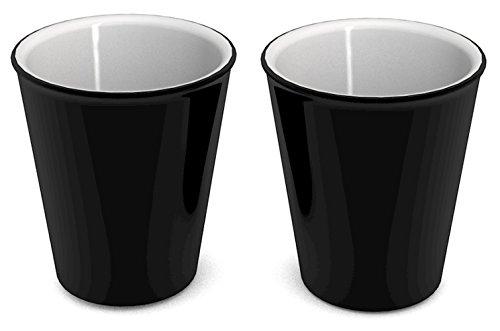 Ornamin Becher 300 ml schwarz, 2er-Set (Modell 1206) / nachhaltiger Mehrweg-Becher Kunststoff